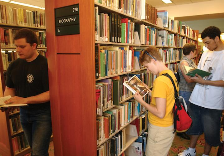 Students in Library Stacks
