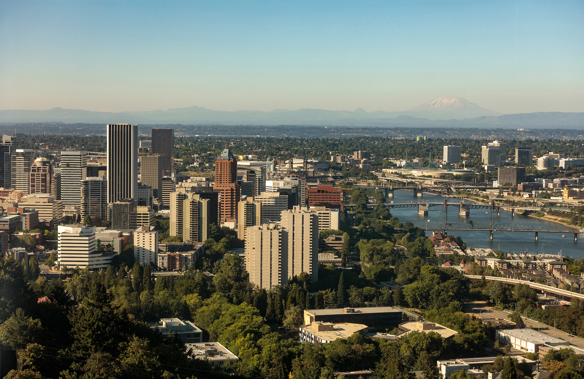 aerial view of the Portland skyline