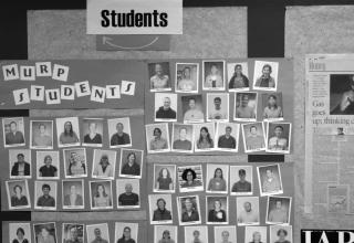 Notice board with MURP student photos