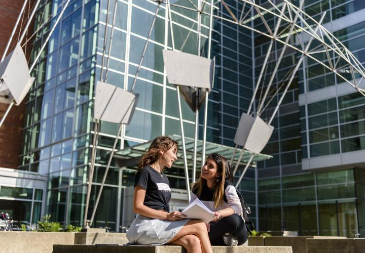 Students studying outside the engineering building