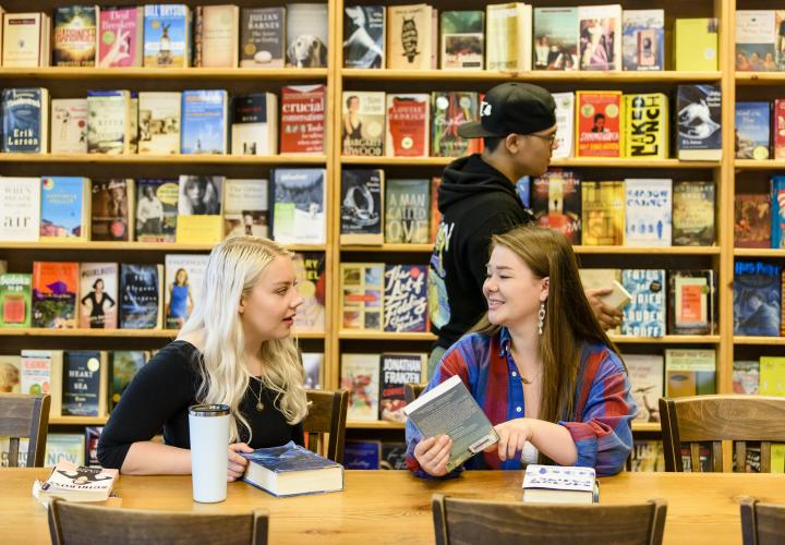 Students hanging out at Powell's City of Books