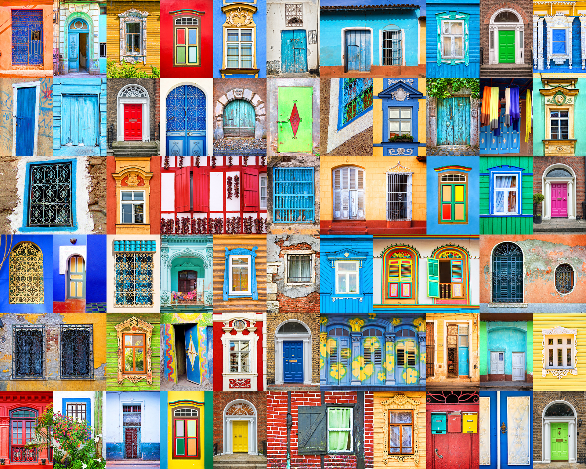 colorful doorways of the world