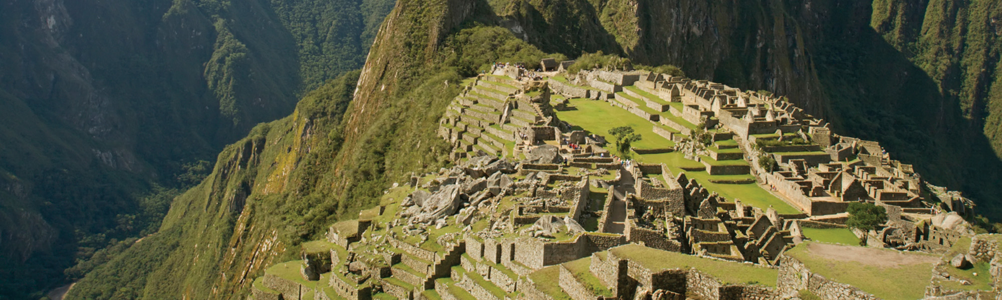 aerial view of the ruins of Machu Picchu in Peru